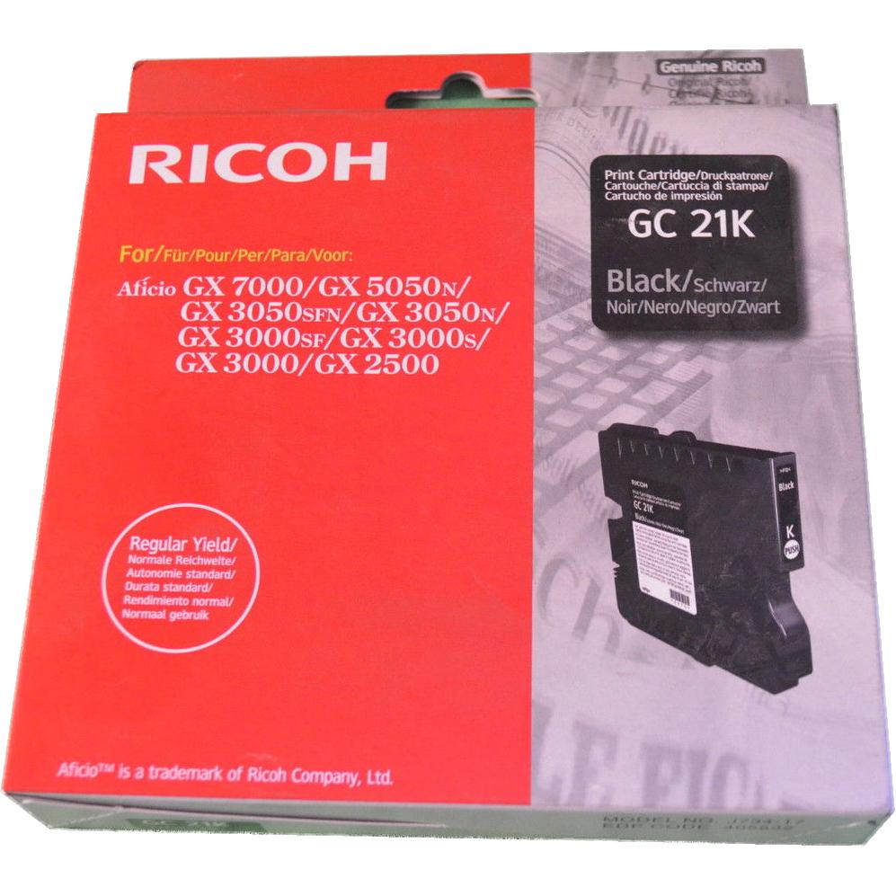 Original Ricoh GC21K Black Gel Ink Cartridge (405532/405540)