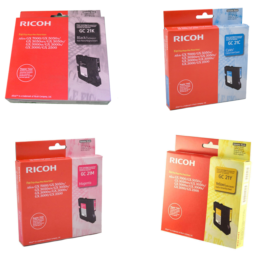 Original Ricoh GC21 CMYK Multipack Gel Ink Cartridges (405532 / 405533 / 405534 / 405535)
