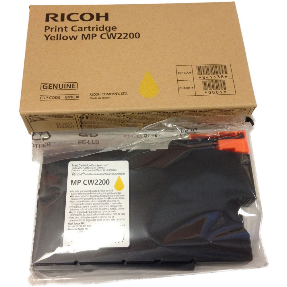 Original Ricoh 841638 Yellow Ink Cartridge (841638 841642)