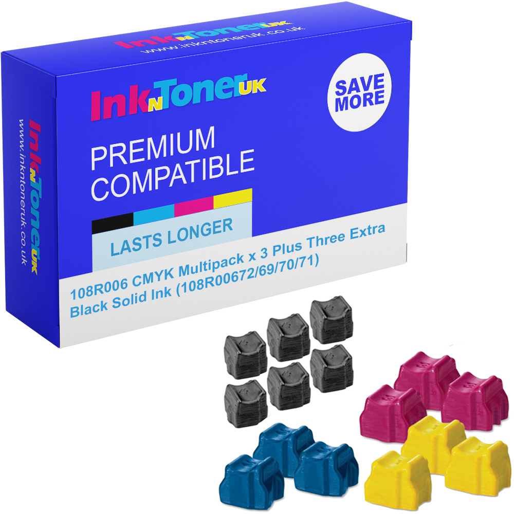 Premium Compatible Xerox 108R006 CMYK Multipack x 3 Plus Three Extra Black Solid Ink (108R00672/69/70/71)