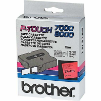 Original Brother TX-451 Black On Red 24mm x 15m P-Touch Label Tape (TX451)