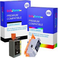 Compatible Canon BCI-15 Black & Colour Combo Pack Ink Cartridges (8190A002 & 8191A002)