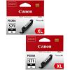 Original Canon CLI-571BKXL Black Twin Pack High Capacity Ink Cartridges (0331C001)