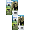 Original Epson 24 Black Twin Pack Ink Cartridges (C13T24214012)