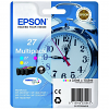 Original Epson 27 Cyan Magenta Yellow Pack Ink Cartridges (C13T27054012)