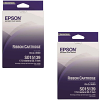 Original Epson S015139 Black Twin Pack High Capacity Fabric Ribbons (C13S015139)