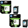 Original HP 21XL Black Twin Pack High Capacity Ink Cartridges (C9351CE)