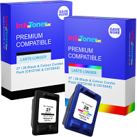 Premium Compatible HP 27 / 28 Black & Colour Combo Pack Ink Cartridges (C8727AE & C8728AE)