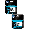 Original HP 300 Black Twin Pack Ink Cartridges (CC640EE)