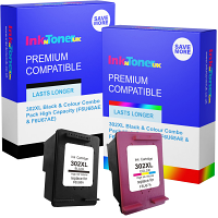 Premium Remanufactured HP 302XL Black & Colour Combo Pack High Capacity Ink Cartridges (F6U68AE & F6U67AE)