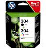 Original HP 304 Black & Colour Combo Pack Ink Cartridges (N9K06AE & N9K05AE)