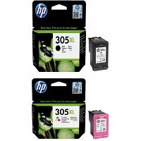 Original HP 305XL Black & Colour Combo Pack High Capacity Ink Cartridges (3YM62AE & 3YM63AE)