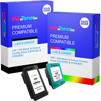 Premium Compatible HP 339 / 344 Black & Colour Combo Pack Ink Cartridges (C8767EE & C9363EE)