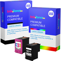 Premium Compatible HP 62XL Black & Colour Combo Pack High Capacity Ink Cartridges (C2P05AE & C2P07AE)