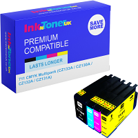 Premium Compatible HP 711 CMYK Multipack Ink Cartridges (CZ133A / CZ130A / CZ132A / CZ131A)