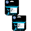 Original HP 711BK Black Twin Pack High Capacity Ink Cartridges (CZ133A)