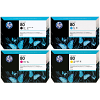 Original HP 80 CMYK Multipack High Capacity Ink Cartridges (C4846A / C4847A / C4871A / C4848A)