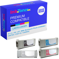 Premium Compatible HP 91 LC, LM, LGY, MBK Multipack Photo Ink Cartridges (C9464A / C9470A / C9471A / C9466A)