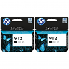 Original HP 912 Black Twin Pack Ink Cartridges (3YL80AE)