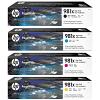 Original HP 981X CMYK Multipack High Capacity Ink Cartridges (L0R12A / L0R09A / L0R10A / L0R11A)