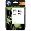 Original HP 711 Black Twin Pack Ink Cartridges (P2V31A)