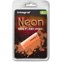 Original Integral Neon 8GB Orange USB 2.0 Flash Drive (INFD8GBNEONOR)