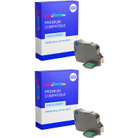 Premium Remanufactured Neopost 300206 Blue Twin Pack Franking Ink Cartridges (10181-801)