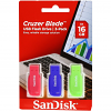 Original SanDisk Cruzer Blade 16GB Colour Triple Pack USB 2.0 Flash Drive (SDCZ50C016GB46T)