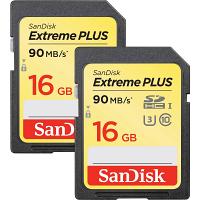 Original SanDisk Extreme Plus 16GB SDHC Memory Card 2-Pack (SDSDXSF-016G-GNC)