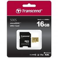 Original Transcend 500S 16GB microSDHC Memory Card + SD Adapter (TS16GUSD500S)