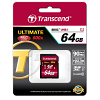 Original Transcend 64GB SDXC Ultimate Class 10 UHS-1 Memory Card (TS64GSDXC10U1)