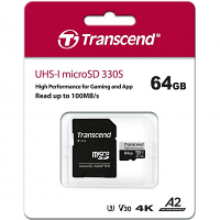 Original Transcend 330S 64GB MicroSDXC High Performance Memory Card (TS64GUSD330S)