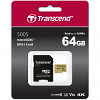 Original Transcend 500s Class 10 64GB microSDXC Memory Card + Adapter (TS64GUSD500S)