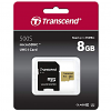 Original Transcend 500s Class 10 8GB microSDXC Memory Card + Adapter (TS8GUSD500S)