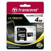 Original Transcend TS4GUSDHC10 Class 10 4GB MicroSDHC Memory Card & Adapter (TS4GUSDHC10)