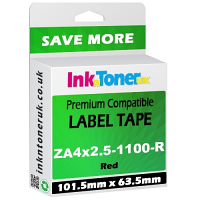 Compatible Zebra 101.5mm x 63.5mm Red Shipping Label Roll - 1,100 Labels (ZA4x2.5-1100-R)