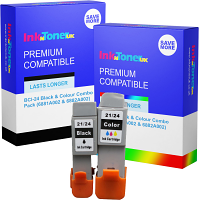 Premium Compatible Canon BCI-24 Black & Colour Combo Pack Ink Cartridges (6881A002 & 6882A002)