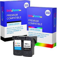 Premium Compatible Canon PG-512 / CL-513 Black & Colour Combo Pack High Capacity Ink Cartridges (2969B001 & 2971B001)