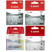 Original Canon PGI-520BK / CLI-521 C, M, Y, K, GY Multipack Ink Cartridges & Paper (2932B001 / 2933B010 / 2937B001)