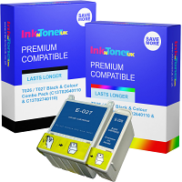 Premium Compatible Epson T026 / T027 Black & Colour Combo Pack Ink Cartridges (C13T02640110 & C13T02740110)