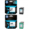 Original HP 337 / 343 Black & Colour Combo Pack Ink Cartridges (C8766EE & C9364EE)