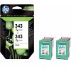 Original HP 343 Colour Twin Pack Ink Cartridges (CB332EE)