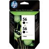 Original HP 56 Black Twin Pack High Capacity Ink Cartridges (C9502AE)
