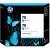 Original HP 70 Cyan Twin Pack Ink Cartridges (CB343A)
