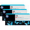 Original HP 771 Chromatic Red Triple Pack Ink Cartridges (B6Y32A)