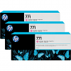 Original HP 771 Light Magenta Triple Pack Ink Cartridges (B6Y35A)