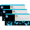 Original HP 771 Yellow Triple Pack Ink Cartridges (B6Y34A)