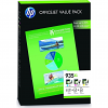 Original HP 935XL Cyan Magenta Yellow Pack High Capacity Ink Cartridges & Paper (F6U78AE)