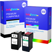 Premium Compatible Lexmark 32 / 33 Black & Colour Combo Pack Ink Cartridges (80D2951)