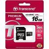 Original Transcend Class 10 16GB MicroSDHC Memory Card + SD Adapter